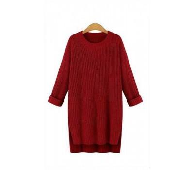 Женский свитер удлиненный бордовый