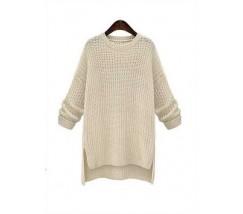 Женский свитер удлиненный бежевый