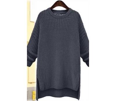 Женский свитер удлиненный серый