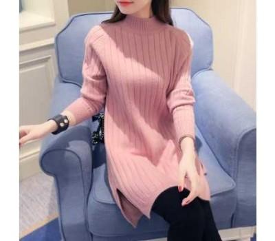 Женский теплый свитер-туника розовый
