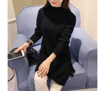 Женский теплый свитер-туника черный