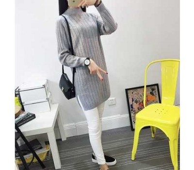 Женский теплый свитер-туника серый