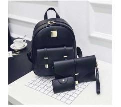 Жіночий рюкзак чорний набір 3в1