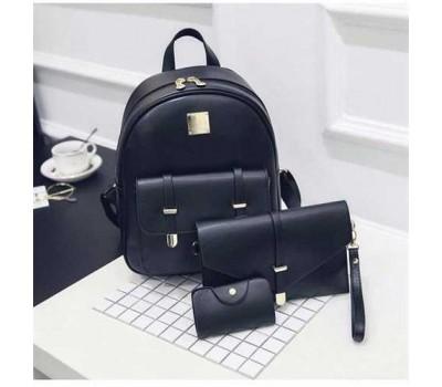 Женский рюкзак черный набор 3в1