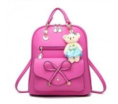Рюкзак женский с брелком ярко розовый