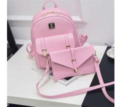 Жіночий рюкзак рожевий набір 3в1