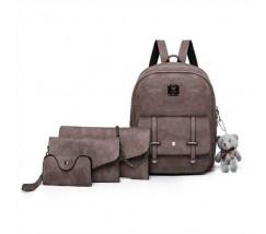 Набор 4в1 рюкзак + клатч, кошелёк и визитница коричневый