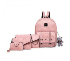 Набор 4в1 рюкзак + клатч, кошелёк и визитница розовый