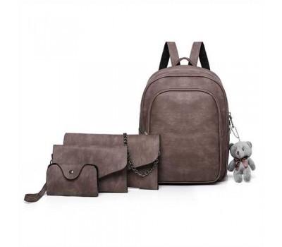 Рюкзак + клатч, кошелёк и визитница набор коричневый
