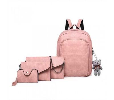 Рюкзак + клатч, кошелёк и визитница набор розовый