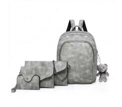 Рюкзак + клатч, кошелёк и визитница набор серый