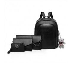 Рюкзак + клатч, кошелёк и визитница набор черный