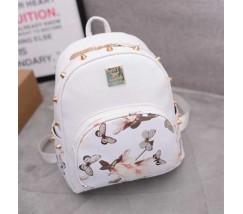 Жіночий рюкзак білий з квітковим принтом і шипами