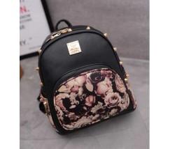 Женский рюкзак черный с шипами и цветочным принтом