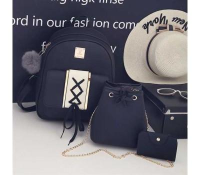 Набор 3в1 рюкзак + сумочка и визитница черная