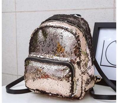 Рюкзак с пайетками бронзовый