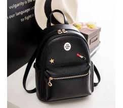 Жіночий чорний міський рюкзак з екошкіри