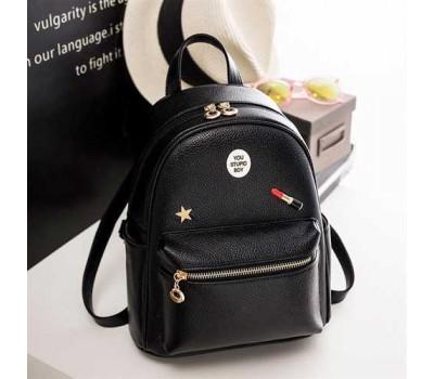Женский черный городской рюкзак из экокожи