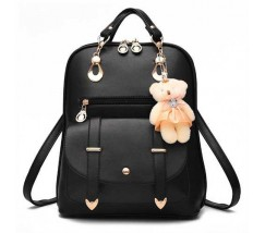 Рюкзак женский с брелком черный