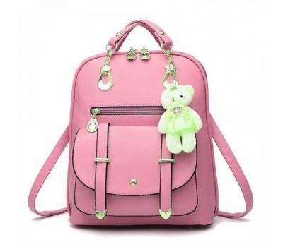 Рюкзак женский с брелком светло розовый