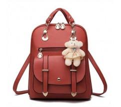 Рюкзак женский с брелком коричневый