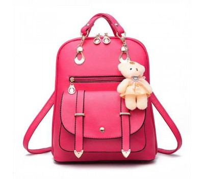 Рюкзак женский с брелком малиновый