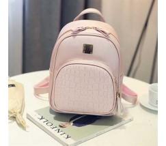 Жіночий якісний рюкзак зі шкірозамінника рожевий