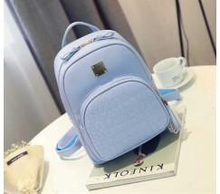 Женский качественный рюкзак из кожзама голубой