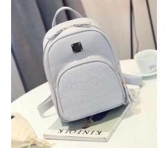 Женский качественный рюкзак из кожзама серый