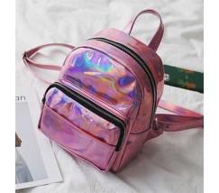 Рюкзак маленький блестящий розовый