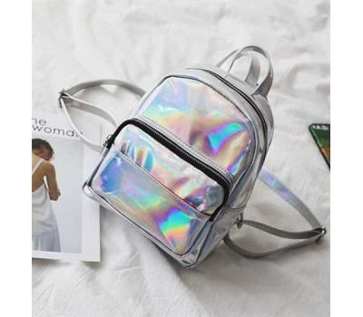 Рюкзак маленький блестящий стальной