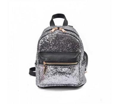 Маленький рюкзак серебряный с блестками