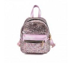 Маленький рюкзак розовый с блестками