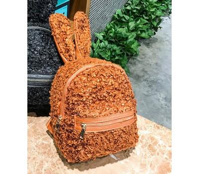 Рюкзак из ткани с ушками зайца коричневый