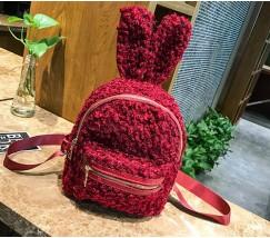 Рюкзак из ткани с ушками зайца красный