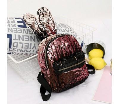 Рюкзак с ушками в пайетках розовый