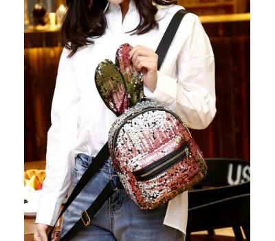 Рюкзак с ушками в пайетках розово-серебряный