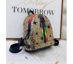 Рюкзак в пайетках со звездами золотой