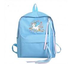 Большой рюкзак с единорогом голубой