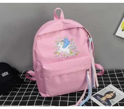 Большой рюкзак с единорогом розовый
