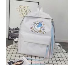 Большой рюкзак с единорогом светло-серый
