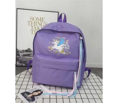 Большой рюкзак с единорогом фиолетовый