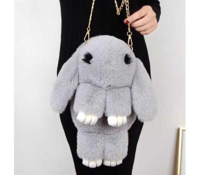 Детская сумка-рюкзак меховой заяц  светло-серый