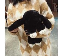 Детская сумка-рюкзак меховой заяц черный