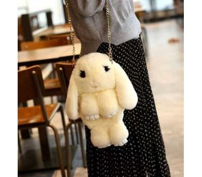 Детская сумка-рюкзак меховой заяц бежевый
