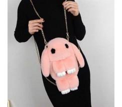 Дитяча сумка-рюкзак хутряний заєць світло-рожевий