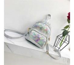 Маленький голограммный рюкзак серебристый