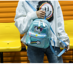 Маленький детский рюкзак Единорог голубой