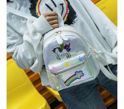 Маленький дитячий рюкзак Єдиноріг білий