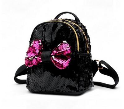 Детский рюкзак в пайетках с бантиком черный